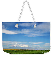 Famous Ararat Mountain Under Beautiful Clouds As Seen From Armenia Weekender Tote Bag