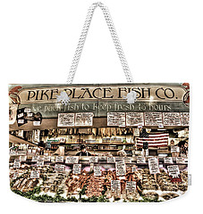 Famous Fish At Pike Place Market Weekender Tote Bag by Spencer McDonald