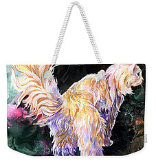 Weekender Tote Bag featuring the painting Fancy Britches by Sherry Shipley