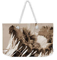 Weekender Tote Bag featuring the photograph Fancy Dancer In Sepia by Heidi Hermes