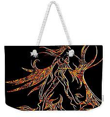 Weekender Tote Bag featuring the drawing Fancy Flight On Fire by Jamie Lynn