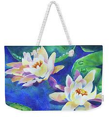 Weekender Tote Bag featuring the painting Fancy Waterlilies by Kathy Braud