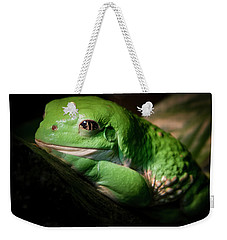 Weekender Tote Bag featuring the photograph Fantastic Green Frog by Jean Noren