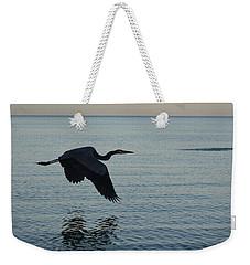 Fantastic Heron In Flight Over The Ocean Weekender Tote Bag by DejaVu Designs