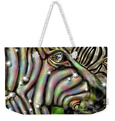 Weekender Tote Bag featuring the digital art Fantastic Zebra by Darren Cannell
