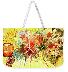 Weekender Tote Bag featuring the painting Fantasy Floral With Pot And Fruit by Al Brown