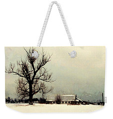 Weekender Tote Bag featuring the photograph Far From Home - Winter Barn by Janine Riley