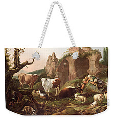 Farm Animals In A Landscape Weekender Tote Bag by Johann Heinrich Roos