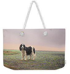 Farm Dog In Fog Weekender Tote Bag