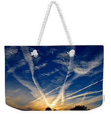 Weekender Tote Bag featuring the photograph Farm Evening Skies by Rick Morgan