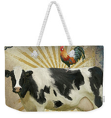 Weekender Tote Bag featuring the painting Farm Fresh Barnyard Animals Cow Rooster Typography by Audrey Jeanne Roberts