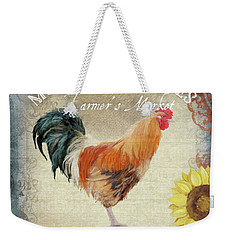 Weekender Tote Bag featuring the painting Farm Fresh Barnyard Rooster Morning Sunflower Rustic by Audrey Jeanne Roberts