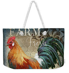 Weekender Tote Bag featuring the painting Farm Fresh Daily Red Rooster Sunflower Farmhouse Chic by Audrey Jeanne Roberts