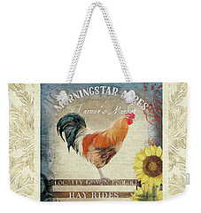 Weekender Tote Bag featuring the painting Farm Fresh Damask Barnyard Rooster Sunflower Square by Audrey Jeanne Roberts