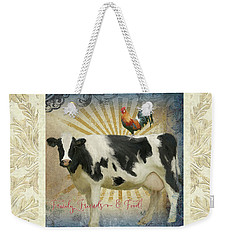 Weekender Tote Bag featuring the painting Farm Fresh Damask Milk Cow Red Rooster Sunburst Family N Friends by Audrey Jeanne Roberts
