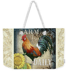 Weekender Tote Bag featuring the painting Farm Fresh Damask Red Rooster Sunflower by Audrey Jeanne Roberts