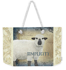 Weekender Tote Bag featuring the painting Farm Fresh Damask Sheep Lamb Simplicity Square by Audrey Jeanne Roberts