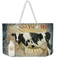 Weekender Tote Bag featuring the painting Farm Fresh Milk Vintage Style Typography Country Chic by Audrey Jeanne Roberts