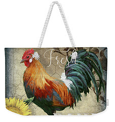 Weekender Tote Bag featuring the painting Farm Fresh Red Rooster Sunflower Rustic Country by Audrey Jeanne Roberts