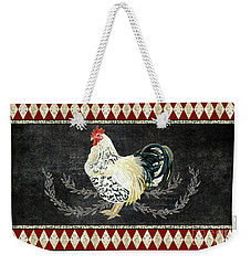 Weekender Tote Bag featuring the painting Farm Fresh Rooster 3 - On Chalkboard W Diamond Pattern Border by Audrey Jeanne Roberts