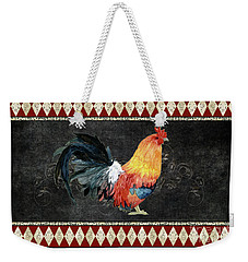 Weekender Tote Bag featuring the painting Farm Fresh Rooster 4 - On Chalkboard W Diamond Pattern Border by Audrey Jeanne Roberts