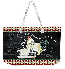 Weekender Tote Bag featuring the painting Farm Fresh Rooster 5 - Coffee Served Chalkboard Cappuccino Cafe Latte  by Audrey Jeanne Roberts