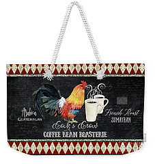 Farm Fresh Rooster 6 - Coffee Bean Roasterie French Roast Weekender Tote Bag by Audrey Jeanne Roberts
