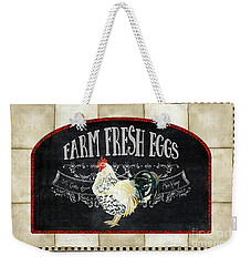 Weekender Tote Bag featuring the painting Farm Fresh Roosters 1 - Fresh Eggs Typography by Audrey Jeanne Roberts