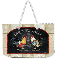 Weekender Tote Bag featuring the painting Farm Fresh Roosters 2 - Farm To Table Chalkboard by Audrey Jeanne Roberts