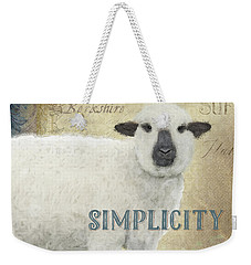 Weekender Tote Bag featuring the painting Farm Fresh Sheep Lamb Simplicity Square by Audrey Jeanne Roberts