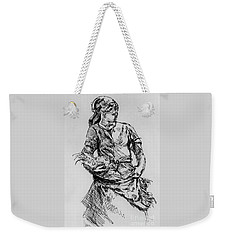 Weekender Tote Bag featuring the drawing Farm Girl by Rod Ismay