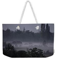 Farm In Fog Weekender Tote Bag