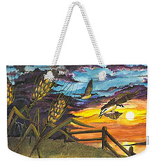 Weekender Tote Bag featuring the painting Farm Sunset by Darren Cannell