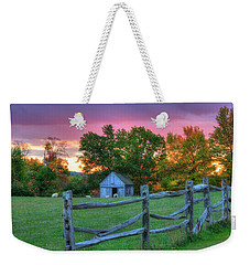 Weekender Tote Bag featuring the photograph Farm Sunset In Autumn - Hollis Nh by Joann Vitali