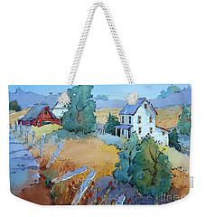 Farm With Blue Roof Tops Weekender Tote Bag
