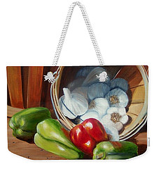 Weekender Tote Bag featuring the painting Farmers Market by Susan Dehlinger