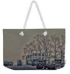 Weekender Tote Bag featuring the photograph Farmhouse In Morning Fog by Sandy Moulder