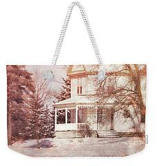 Weekender Tote Bag featuring the photograph Farmhouse In Snow by Jill Battaglia