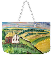 Farmhouse On A Hill Weekender Tote Bag by Diane Pape
