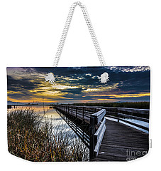 Weekender Tote Bag featuring the photograph Farmington Bay Sunset - Great Salt Lake by Gary Whitton