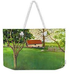 Weekender Tote Bag featuring the painting Farmland Scene by Marlene Book
