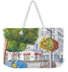 Farola With Flowers In Wilshire Blvd., Beverly Hills, California Weekender Tote Bag