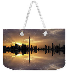 Fascinating Reflection In Business Bay District During Dramatic Sunset. Dubai, United Arab Emirates. Weekender Tote Bag