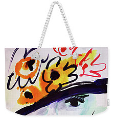 Fashion, Vintage Hat With Flowers Weekender Tote Bag by Amara Dacer