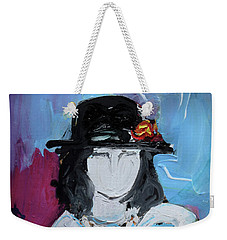 Fashion Woman With Vintage Hat And Blue Dress Weekender Tote Bag