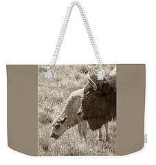 Weekender Tote Bag featuring the photograph Father And Baby Buffalo by Rebecca Margraf