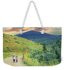 Father And Children Walking Together Weekender Tote Bag