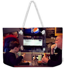 Father And Son Burger Time Weekender Tote Bag by Frank J Casella
