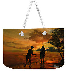 Father And Son Fishing Weekender Tote Bag by Rob Corsetti