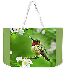 Fauna And Flora - Hummingbird With Flowers Weekender Tote Bag by Christina Rollo